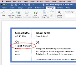 how to make raffle tickets on word print raffle tickets using a template in office word 2016