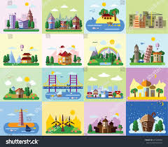 set different landscapes flat style urban stock vector 247268053