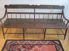 antique c1860 paint decorated pennsylvania windsor plank seat