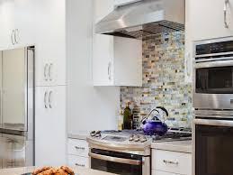 White Kitchen Glass Backsplash Glass Tile Backsplash Stainless Steel Appliance Quartz Countertop