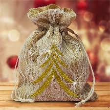 and ivory lace large christmas gift favor bag gold christmas tree
