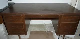 vintage wood tanker desk in harbor los angeles apartment