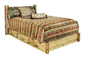 log king platform storage bed frame with drawers rustic lodge