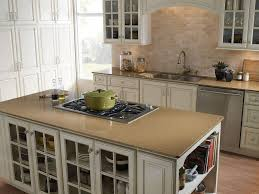 White Island Light Light Brown Solid Surface Countertop Cream Brick Wall White Island