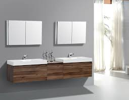 delightful double sink vanity plus arch faucets under square