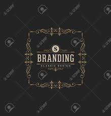 calligraphic label design template classic ornamental style