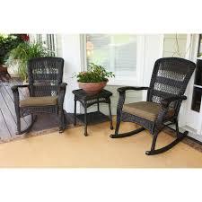 Brown Wicker Patio Furniture Tortuga Outdoor Portside Plantation 3 Pc Rocker Set Hayneedle