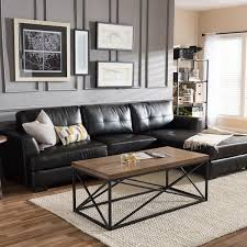 Overstock Sectional Sofas Dobson Black Leather Modern Sectional Sofa Free Shipping Today