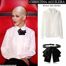 White Blouse With Black Bow What She Wore Christina Aguilera In White Double Collar Shirt