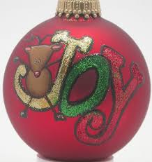 hand painted custom rudolph with joy christmas ornaments and