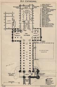 Cathedral Floor Plan Ely Cathedral Floor Plan Cambridgeshire 1939 Vintage Map