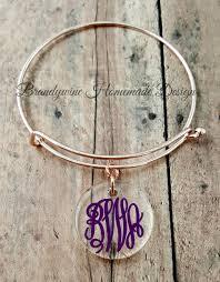 Monogram Charms Rose Gold Charm Bracelet Adjustable Charm Bangle Acrylic