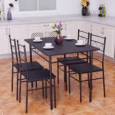 breakfast table with 4 chairs costway 5 piece dining table set 4 chairs wood metal kitchen