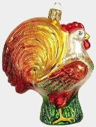 heirloom rooster glass ornament by world ornaments