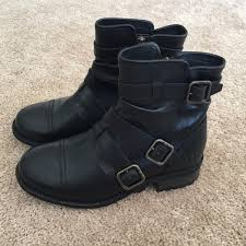 ugg womens finney boots black 50 ugg boots ugg finney moto boot in black leather from