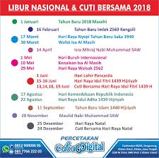 Kalender 2018 Hari Raya Idul Fitri Libur Nasional Dan Cuti Bersama 2018 Resmi Pemerintah Percetakan