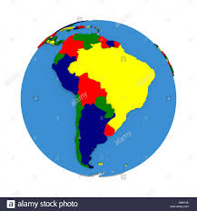 Countries Of South America Map South America On Political 3d Model Of Earth With Embossed