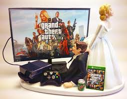 wedding cake toppers and groom gamer addict wedding cake topper and groom gta five