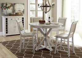 Distressed White Table Distressed Finish Rectangular Counter Height Table With 2 Shelves