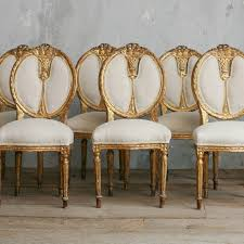 Gold Dining Chairs Vintage Gold Gilt Upholstered Dining Side Chairs Set Of 6 Louis