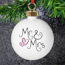 personalised mr mrs tree decoration this beautiful china