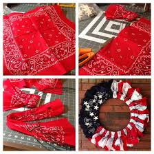 bandana red white and blue flag wreath for 4th of july 6 bandanas