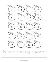handwriting worksheets with numbers printable fill in the missing numbers worksheet twisty noodle