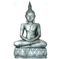 wooden thai buddha statue 50cm x 30cm 20x12 silver