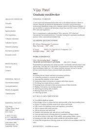 Controller Resume Examples by Graduate Stockbroker Cv Sample Buying Shares Stocks Job