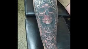 shin tatoos hendo at wildfire tattoo port macquarie skull with indian