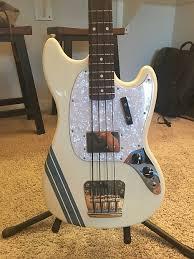 pawn shop mustang bass fender pawn shop mustang bass white blue stripes reverb