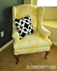 Recover Chair Upholstering A Wing Back Chair Upholstery Tips All Things Thrifty