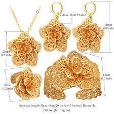 big gold necklace set images Vintage big flower jewelry sets gold color jpg