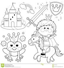 prince riding a horse fairytale set coloring page stock vector