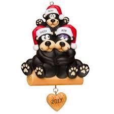 personalized huggable black bear family christmas ornament