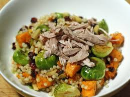 thanksgiving leftovers salad with sweet potatoes and brussels