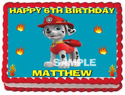 ebluejay paw patrol marshall edible cake topper birthday party