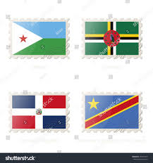 Dr Congo Flag Postage Stamp Image Djibouti Dominica Dominican Stock Vector