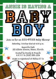 delightful sport themed baby shower invitation card with green