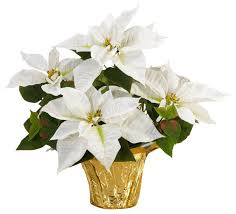 Silk Flower Arrangements Table Top Silk Poinsettia Plant White Contemporary Artificial