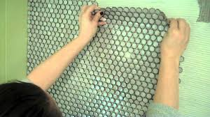 How To Do Tile Backsplash by How To Install Penny Tile Youtube