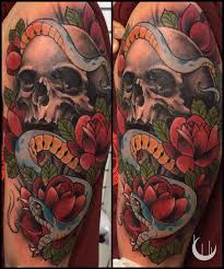 Forearm Skull - color arm by designs sugar skull and roses forearm