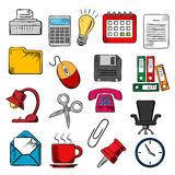 affaires de bureau croquis de symbole d affaires et de fournitures de bureau