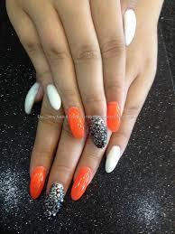 eye candy nails u0026 training acrylic nails with orange and white