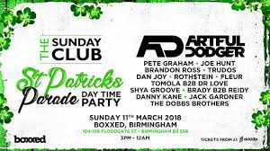 sunday club st patricks parade daytime party 11th march boxxed
