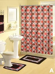 Bathroom Towels And Rugs by Shower Curtains 17 Pcs Set Contemporary Bath Mat Contour Rug Hooks