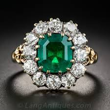 antique jewelry rings images Vintage 2 75 carat emerald and diamond halo ring jpg