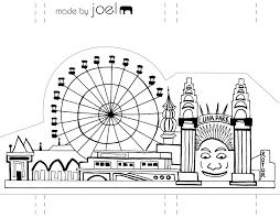 template made by joel paper city sydney luna park à imprimer