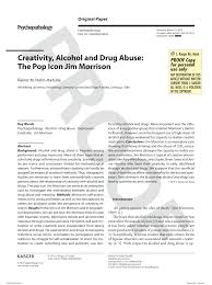 creativity alcohol and drug abuse the pop icon jim morrison