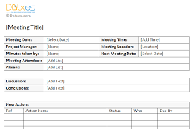meeting minutes templates minutes of meeting sle with item list dotxes